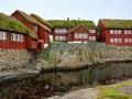 casette colorate costruite in legno e con i tetti d'erba gruppo